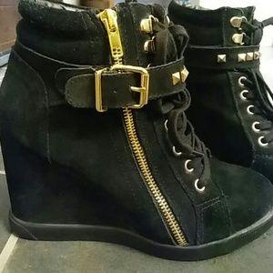 Steve Madden wedge boots black good zip punk bling
